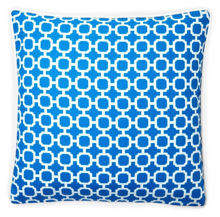Blocks 20x20 Outdoor Pillow, Blue