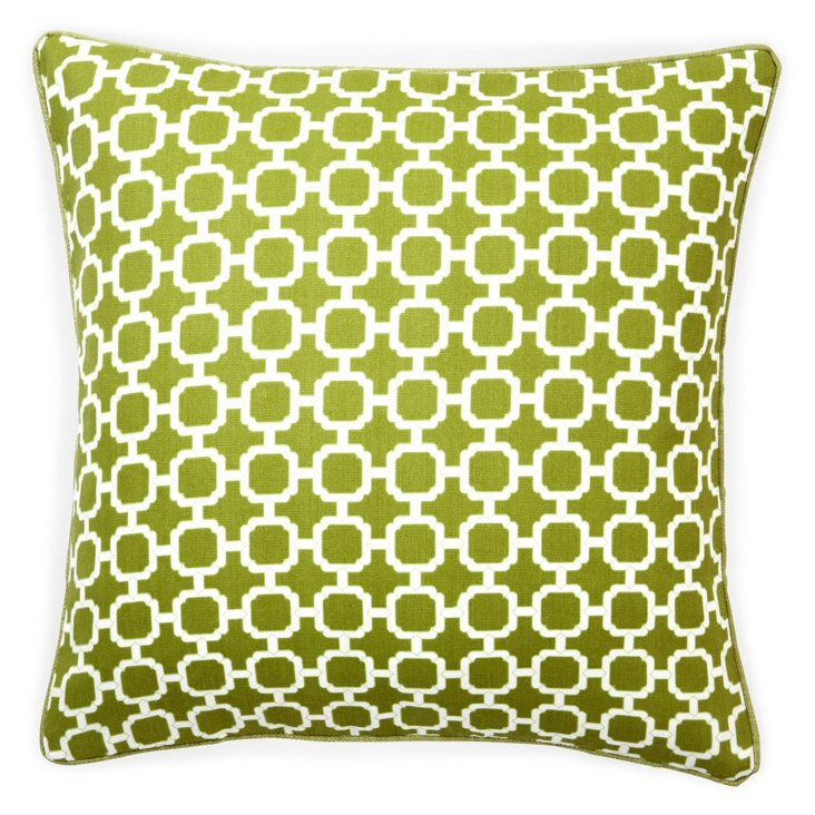 Blocks 20x20 Outdoor Pillow, Green