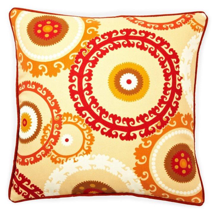 Button 20x20 Outdoor Pillow, Orange