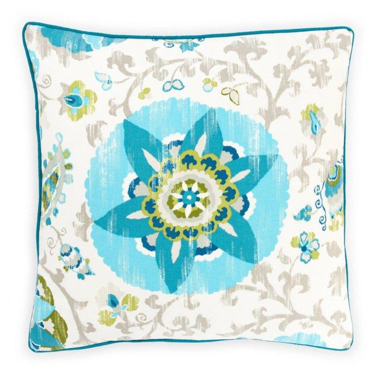 Petals 26x26 Outdoor Pillow, Blue