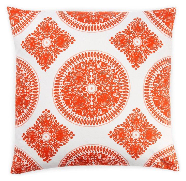 Medallion 24x24 Cotton Pillow, Orange