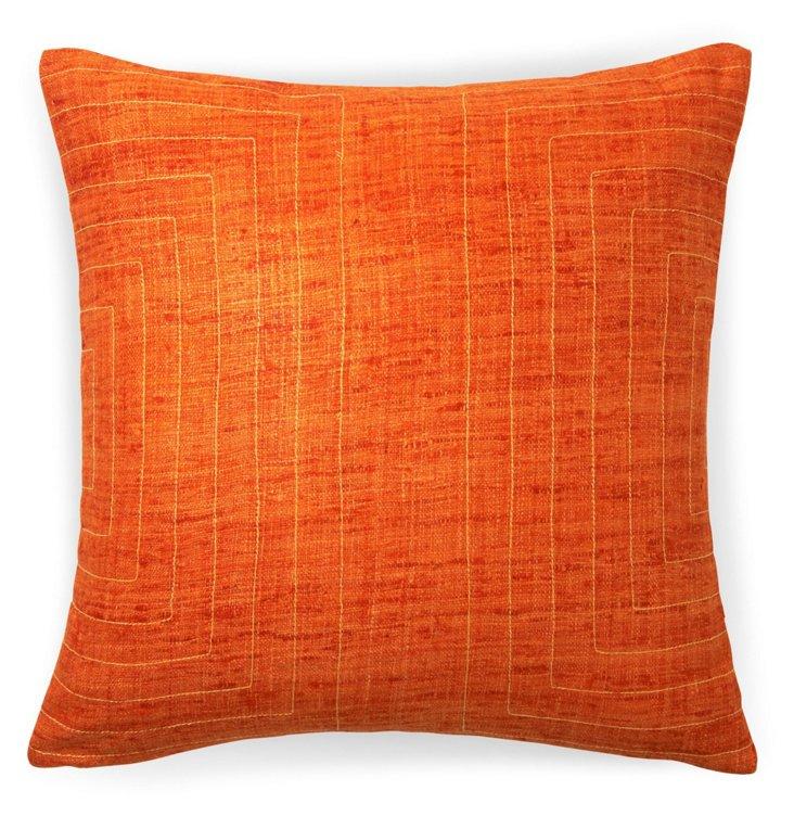 Streams 20x20 Cotton Pillow, Orange