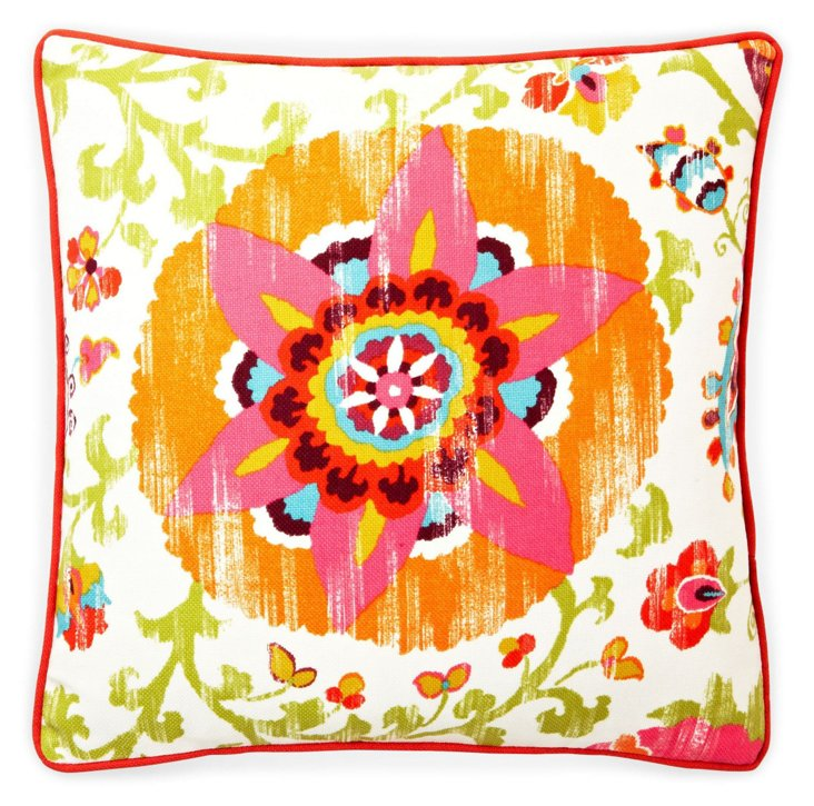 Petals 20x20 Outdoor Pillow, Red