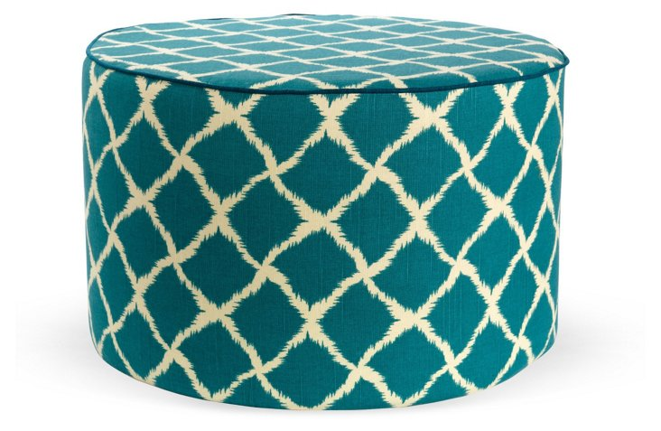 Milly Round Pouf, Teal/Ivory