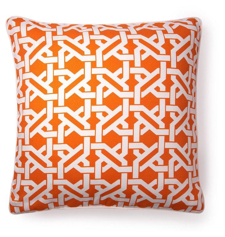 Lattice 20x20 Outdoor Pillow, Orange