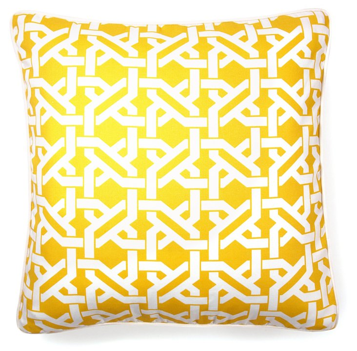 Lattice 20x20 Outdoor Pillow, Yellow