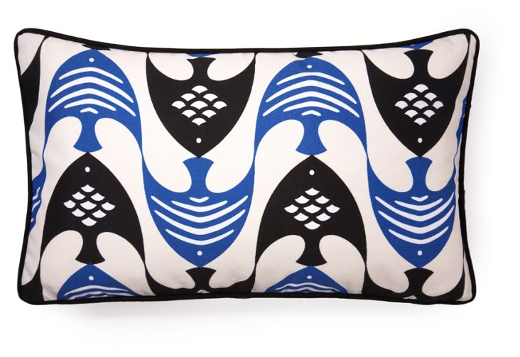 Angel Fish 12x20 Outdoor Pillow, Blue