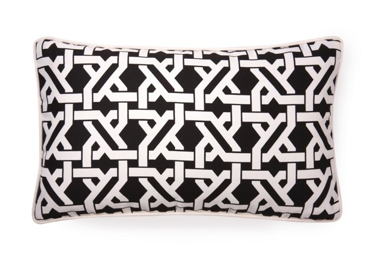 Lattice 12x20 Outdoor Pillow, Black