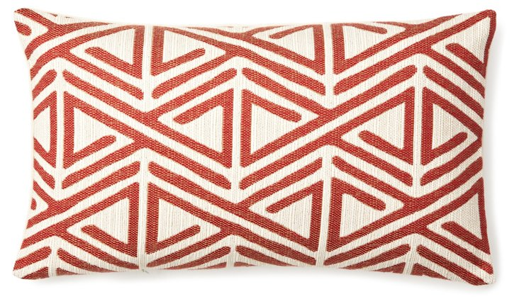 Direction 12x20 Cotton Pillow, Red
