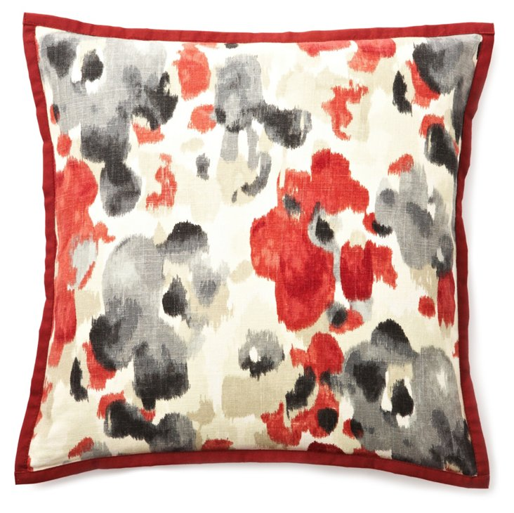 Watercolor 20x20 Linen Pillow, Red