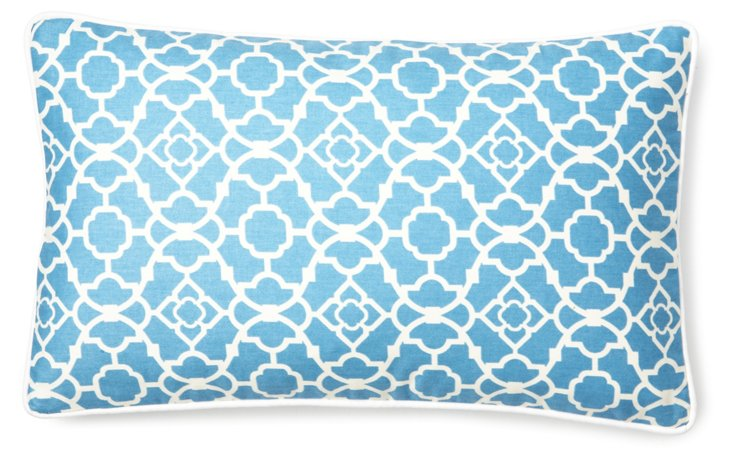 Patterned 12x20 Cotton Pillow, Blue