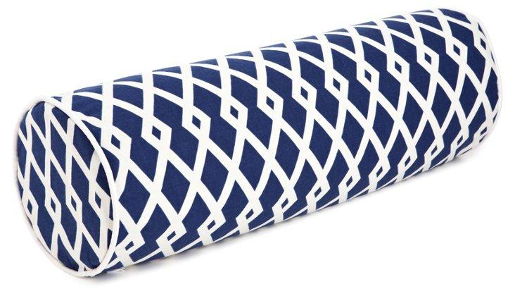 Trellis 7x21 Cotton Pillow, Blue