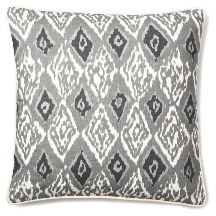 Ikat 20x20 Linen Pillow, Gray