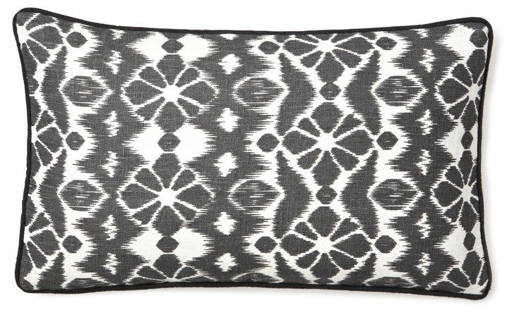 Ikat 12x20 Linen Pillow, Black