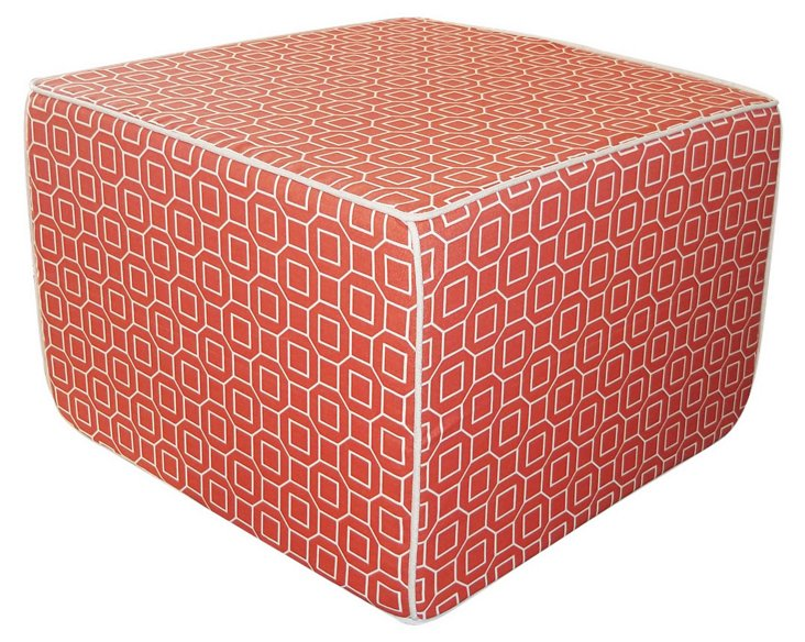 Hexagon Outdoor Ottoman, Orange