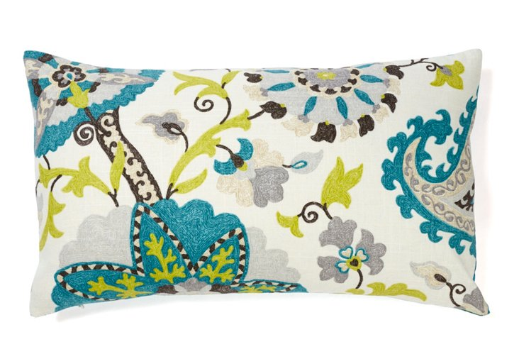 Amapola 12x20 Pillow, Blue
