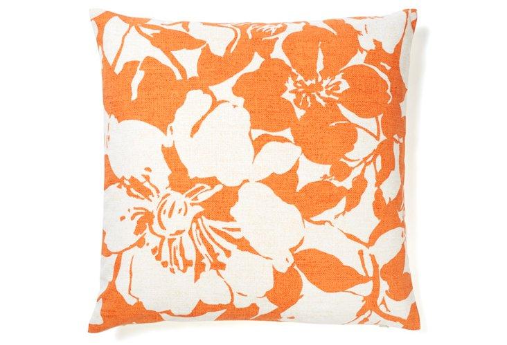 Peony 20x20 Cotton Pillow, Tangerine
