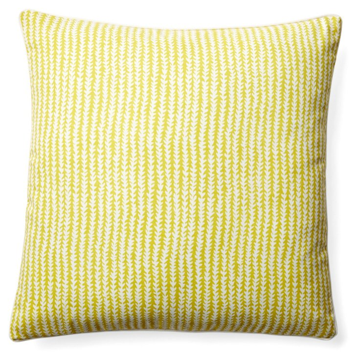 Stitches 20x20 Outdoor Pillow, Yellow