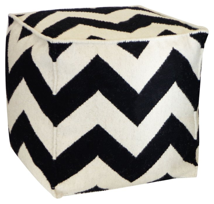 Chevron Wool Pouf, Black/White