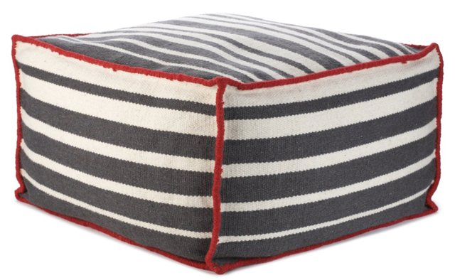 Roads Wool Pouf, Charcoal