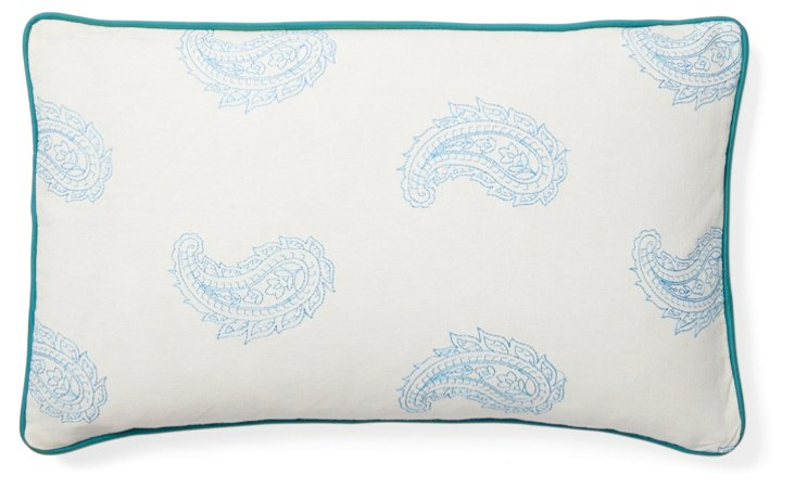 Angela 12x20 Cotton Pillow, Blue