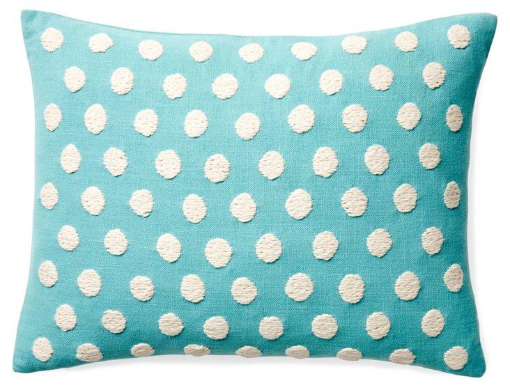 Dots 12x16 Cotton Pillow, Blue