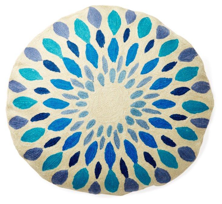 """Iris 24"""" Round Pillow, Blue"""