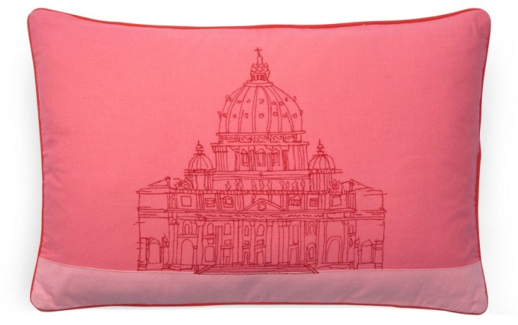 Temple 16x24 Embroidered Pillow, Pink