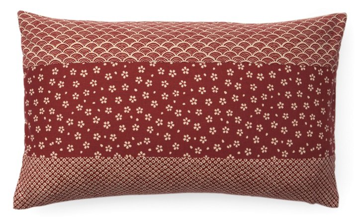 Kio Pieces 12x20 Cotton Pillow, Red