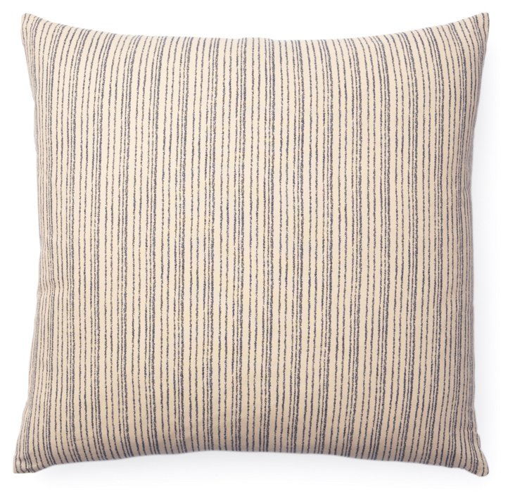 Kio Lines 20x20 Cotton Pillow, Cream