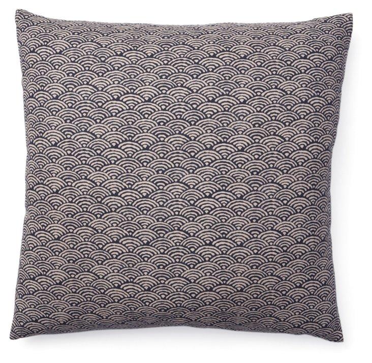 Kio Fan 20x20 Cotton Pillow, Navy