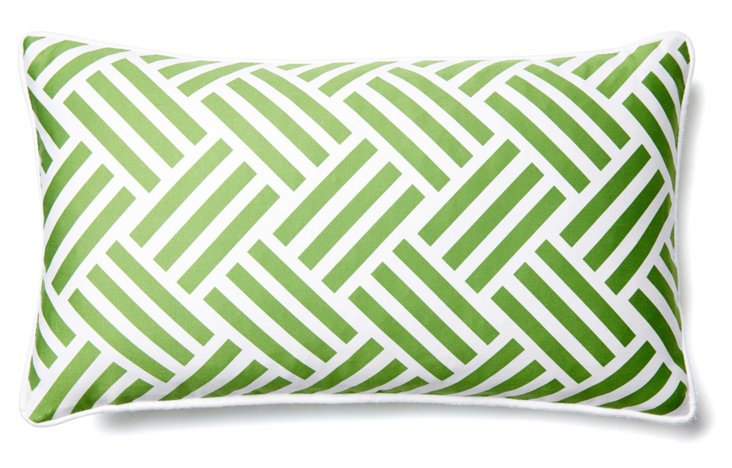 Tribal 12x20 Cotton Pillow, Green