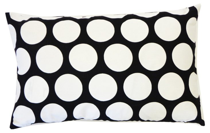 Polka Dot 12x20 Pillow, Black/White