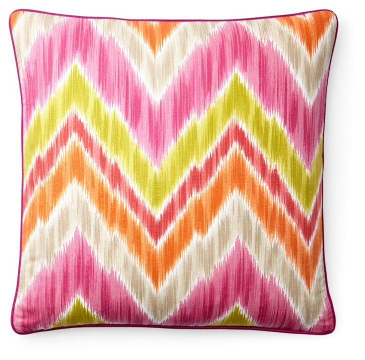 Mountain 20x20 Cotton Pillow, Pink