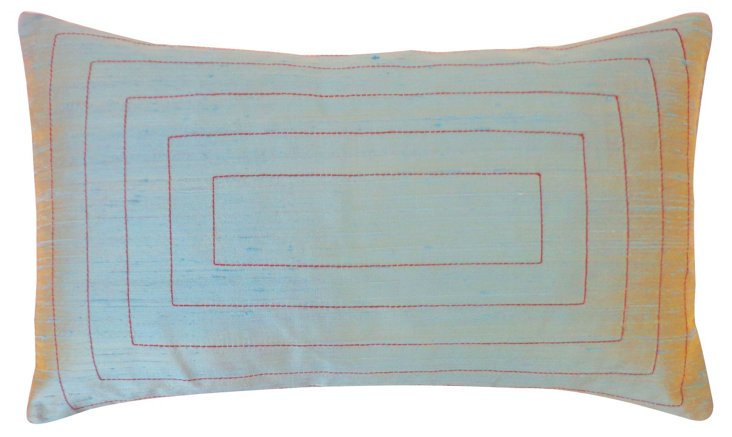Pyramid 12x20 Silk Pillow, Aqua