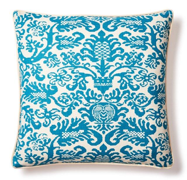 Kahlea 20x20 Cotton Pillow, Turquoise