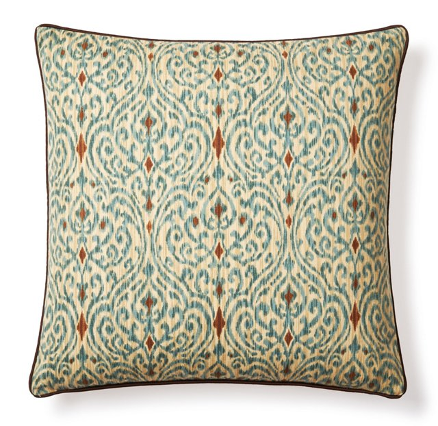 Lanie 20x20 Cotton Pillow, Teal/Brown
