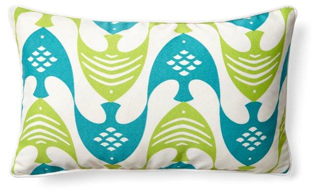Geth 12x20 Outdoor Pillow, Aqua/Lime