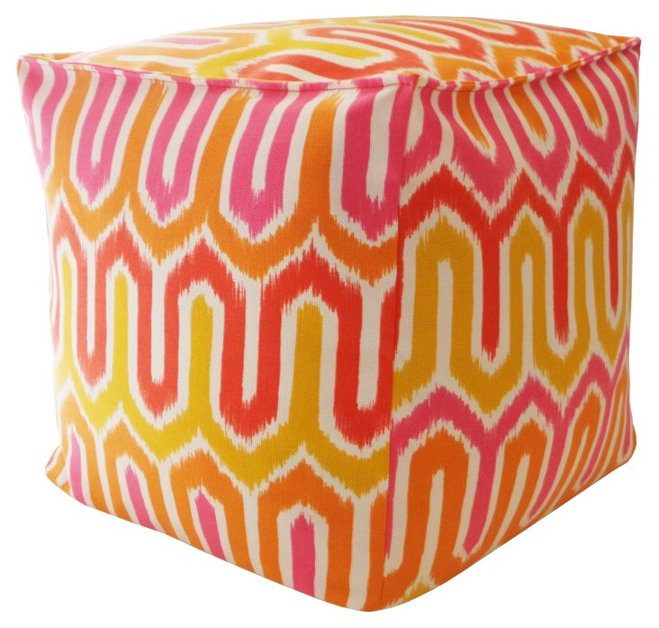 "Vogue 16"" Outdoor Pouf, Orange"
