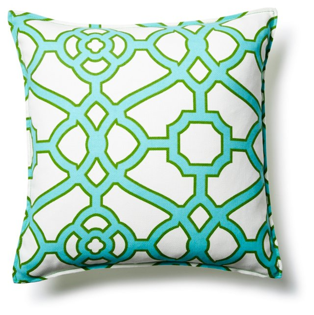 Gated 20x20 Outdoor Pillow, Aqua