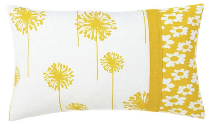 Daisy 12x20 Cotton Pillow, Yellow