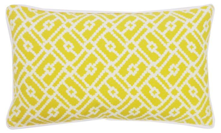 Yarn 12x20 Cotton Pillow, Yellow