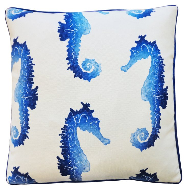 Seahorse 20x20 Outdoor Pillow, Blue