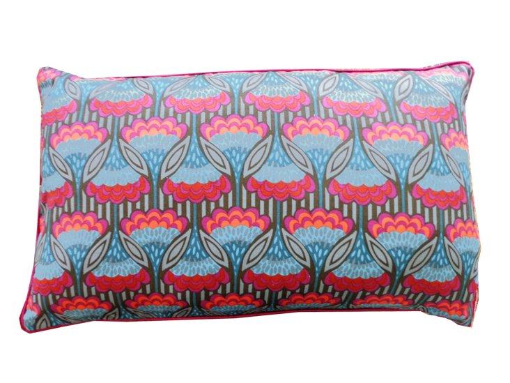 Fan Teal 12x20 Cotton Pillow, Multi