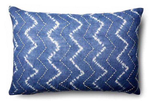 Chevron 16x24 Cotton Pillow, Blue