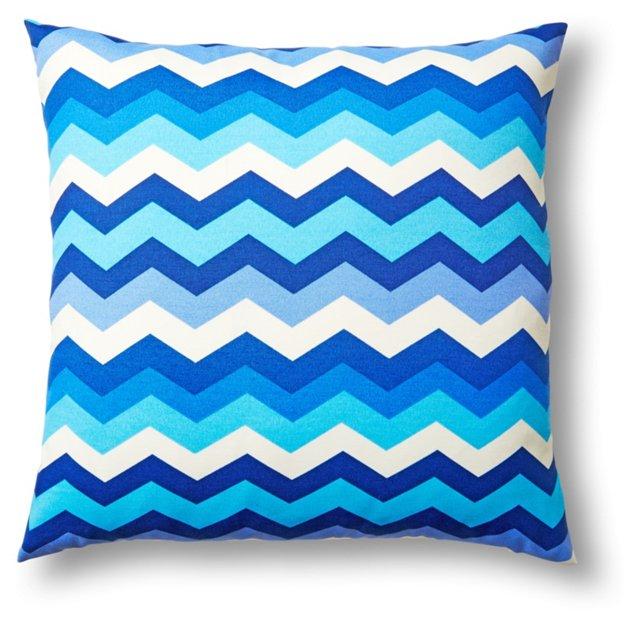 Chevron 20x20 Outdoor Pillow, Blue