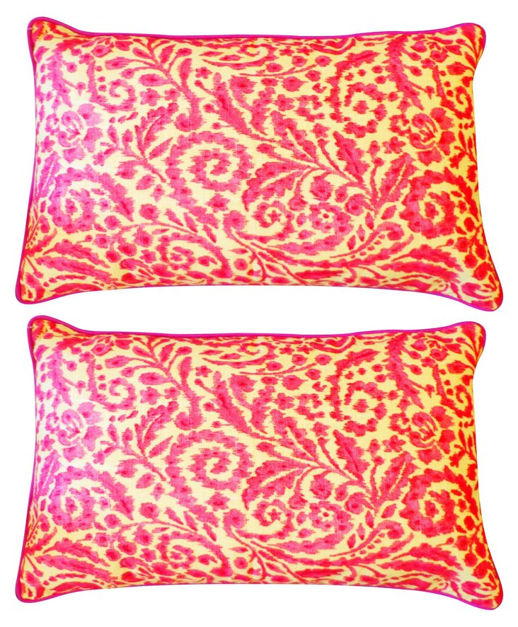 S/2 Damask 12x20 Cotton Pillows, Pink