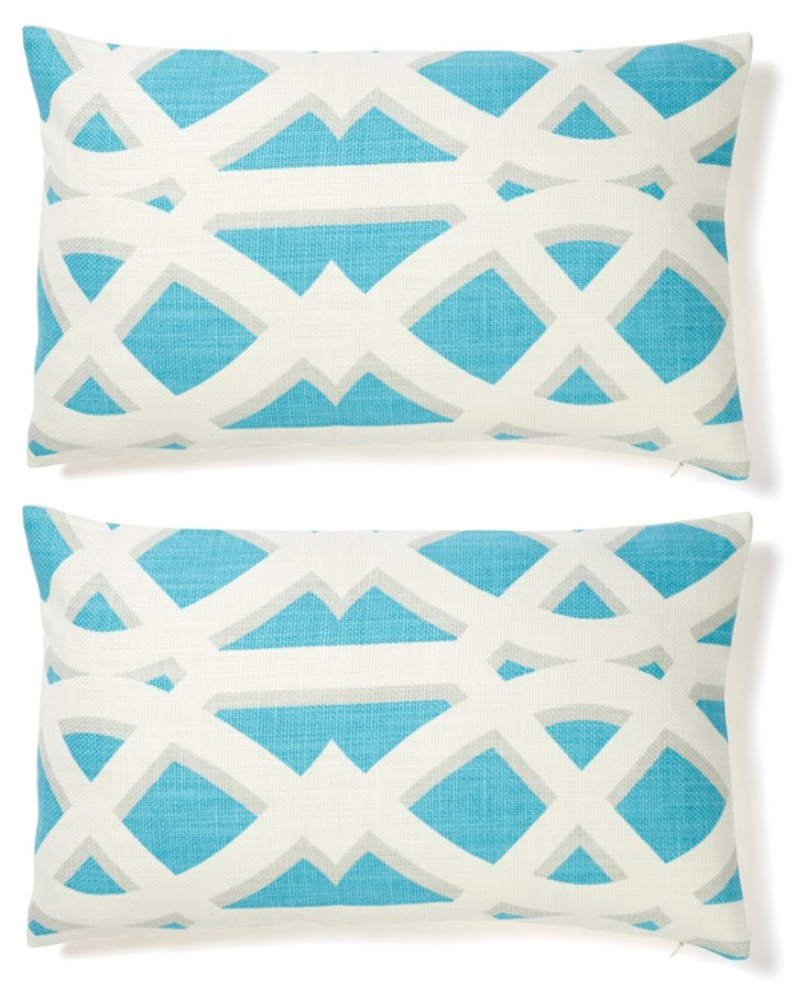 S/2 Criss 12x20 Cotton Pillows, Blue