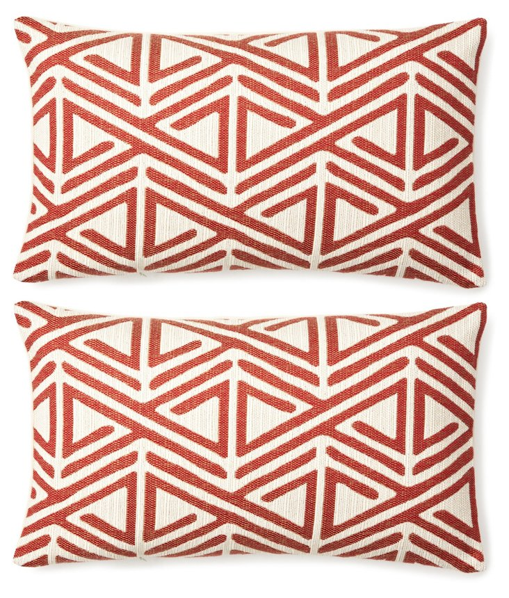 S/2 Geo 12x20 Cotton Pillows, Red