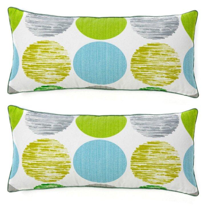 S/2 Spot 12x26 Cotton Pillows, Multi